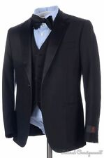 NWT - BATTISTONI Black Satin Lapel Wool Jacket Vest Pants TUXEDO Suit - 32 34 R