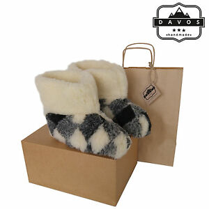 Women's Men Natural Sheep Wool BootSlippers with Sheepskin Suede Sole New Box