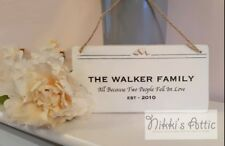 Personalised Hand Made Plaque Family Name Home Housewarming Gift