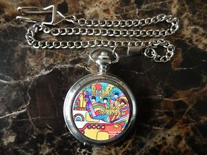 BEATLES (YELLOW SUBMARINE) CHROME POCKET WATCH WITH CHAIN (NEW)
