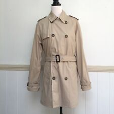 Womens Country Road Trench Coat Jacket Size Beige Double Breast Pockets