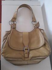 Kenneth Cole Reaction Sandstone Leather Nylon Twill Satchel Handbag Purse Tote
