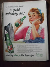 1956 VTG Original Magazine Ad 7 Up Soda A Real Housework Break Refreshing Drink