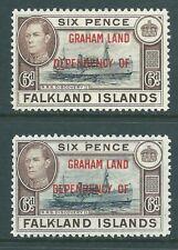 GRAHAM LAND 1944 mint 6d shades SG A6 & A6a