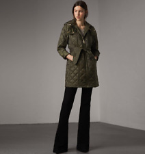 BURBERRY WOMEN BAUGHTON HOODED BELTED QUILTED JACKET - KHAKI - SZ XXL, 2XL - NWT