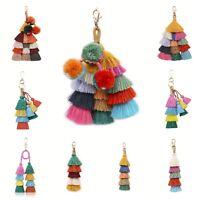 Colorful Bohemian Tassels Keychain Charm Keyring Key Chain Handbag Purse Pendant