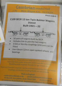 CAMBRIAN C109 SECR/SR Twin Bolster Wagon (D1610)  NEW OO GAUGE