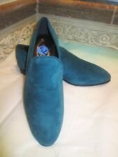 $400 NWT TOD'S DARK TURQUOISE SUEDE MOCCASIN LOW HEEL SHOES SIZE: 7.5