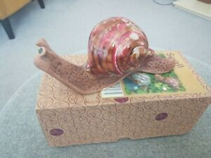 The Potting Shed - Pottery Snail with Glazed Red Shell New with Original Box
