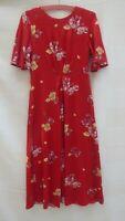 Monsoon orangey red floral crepe / silky feel short sleeve dress Size 10