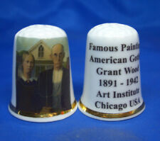 Birchcroft Thimble -- Famous Paintings - American Gothic by Grant Wood