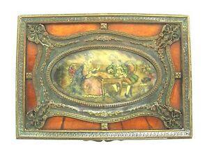 GORGEOUS Victorian Bronze, Wood, Enamel & Bakelite Box Circa 1900s