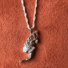 """925 SILVER Necklace FAIRY Pixie Charm Pendant 18"""" Chain, CZ, New With Box"""