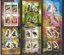 MALAWI COTE DJIBOUTI RWANDA CONGO 2013 OWLS 6X MINI SHEET SET **
