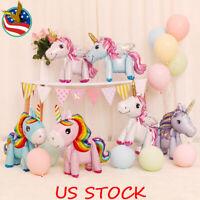 1//5/10 Pcs 3D Standing Unicorn Foil Balloon Kids DIY Birthday Party Decoration