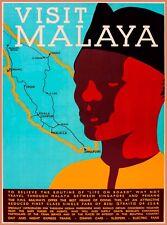 Visit Malaya Malaysia Vintage Map Travel Advertisement Art Poster Print
