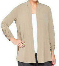 NEW SUSAN GRAVER Liquid Knit Open Front Cardigan with Ruched Sleeves 215971