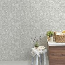 ARCHIVES WOODLAND WALLPAPER GREY - CROWN M1168 FLORAL FLOWERS