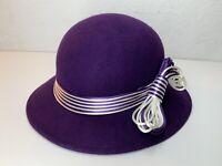 GEO W. BOLLMAN DOESKIN 100% Wool Soft felt purple Hat with unique bow USA