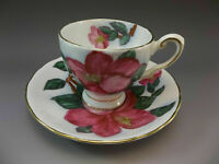 Tuscan Demitasse Tea Cup Saucer Set Pink Hibiscus Bone China England