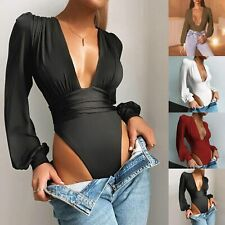 Women Sexy Long Sleeve Deep V Neck Low-cut Solid Color Slim Long-sleeved