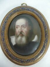 Antique Italian Hand Painted Portrait On Porcelain In Wood Frame - Galileo