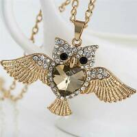 Cute Women Owl Rhinestone Crystal Pendant Necklace Long Sweater Chain Jewelry UK