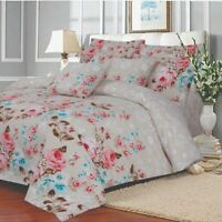 Lansfield Floral Duvet Cover Quilt Bedding With Pillow case Single Double King