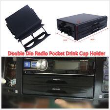 New Durable Black Car SUV Double Din Radio Pocket Drink Cup Holder & Storage Kit
