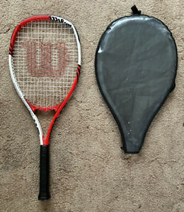 Wilson Federer 110 Adult Tennis Racket,Grip Size: 3/8 3,Red/White