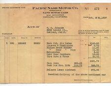 1927 Auto Receipt for Nash Sedan Pacific Nash Motor Company Oakland CA