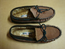 Minnetonka Brown Leather Shearling lined Moccasin Slippers Mens 10M