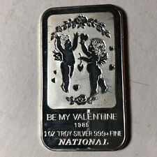 1985 Nationals, Be My Valentine 1 Ounce .999 Silver Art Bar