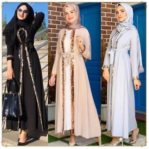 Muslim Women Dubai Open Abaya Maxi Dress Kimono Kaftan Jilbab Cocktail Robe Arab