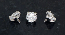 3 Pc 5 mm Clear CZ Extra Bling Sparkle Prong Set Gem Dermal Anchors Heads 14g