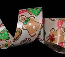 5 Yds Gingerbread man Cookie Christmas Winter Red Acetate Gift Waterproof Ribbon