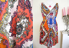 LADIES COLORFUL GOTHIC PAISLEY SKATER MOD DRESS SIZE M/L TRIBAL SHIFT TUNIC TOP