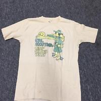 Girl Scouting Camp Golden Valley Velva Sheen Adult Medium Shirt VTG 80s Yellow