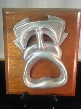 """Vintage Mahogany Plaque With Metal Casting Of A Howling Individual 10"""" Tall"""