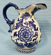 The Bombay Company Cobalt Blue & White Ceramic Creamer Pitcher 6""