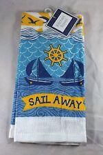 "Mainstream Kitchen Dish Towel - New - Sailboats & Ship's Wheel ""Sail Away"""