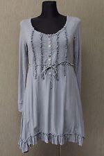 CULTURE Damen Kleid Gr. S Tunika Blau Dress Viskose - Baumwolle ^26