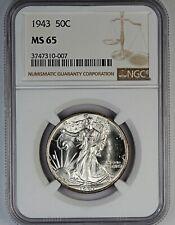 1943 NGC MS 65 United States Walking Liberty Half Dollar