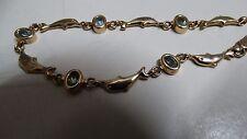 Golden Mile Bracelet Solid 9ct 9K 375 Yellow Gold aquamarine dolphins 9g
