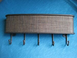 InterDesign Twillo Mail & Key Rack with 5 Hooks Bronze NEW