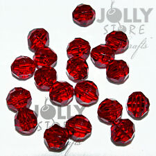 8mm Ruby Red Faceted Round Beads 500pc made in USA