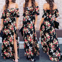 Boho Women Holiday Off Shoulder Floral Maxi Ladies Summer Beach Party Dress Hot