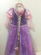 Original Disney Store Tangled Rapunzel Princess Dress Costume 7/8 With HairBraid