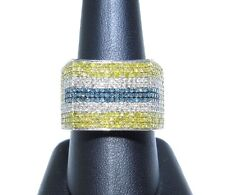 14k White Gold Round Cut 3.00ct White Canary & Blue Diamond Curved Ring