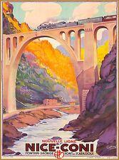 Nice to Coni Pont de Scarassoui France Vintage Travel Advertisement Poster